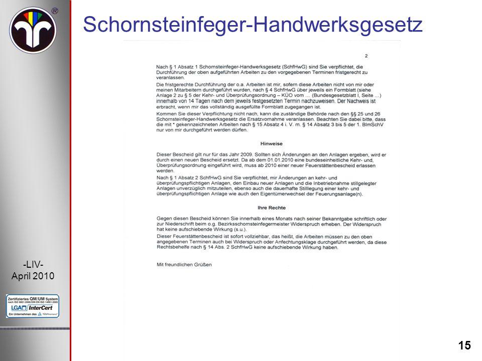 15 -LIV- April 2010 Schornsteinfeger-Handwerksgesetz