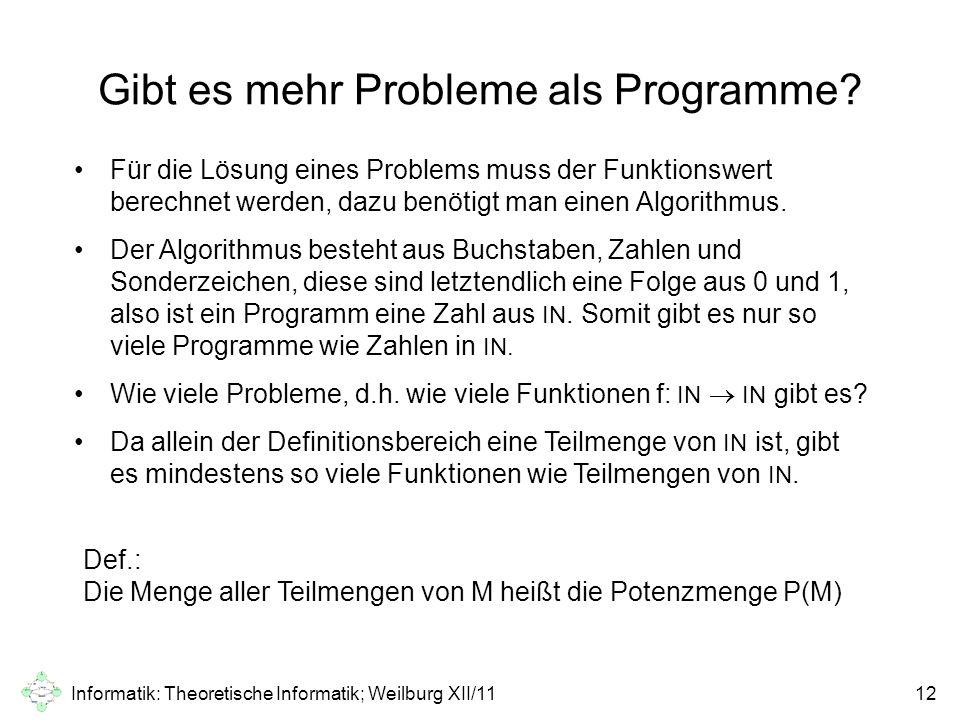 Informatik: Theoretische Informatik; Weilburg XII/1112 Gibt es mehr Probleme als Programme? Für die Lösung eines Problems muss der Funktionswert berec