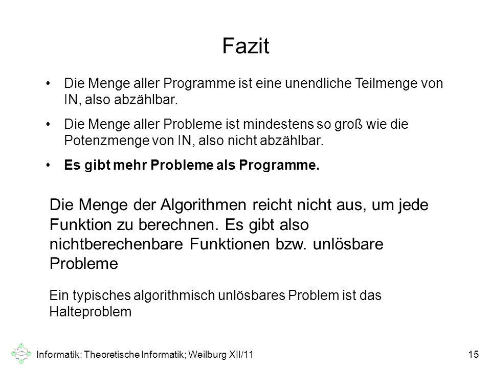 Informatik: Theoretische Informatik; Weilburg XII/1115 Fazit Die Menge aller Programme ist eine unendliche Teilmenge von IN, also abzählbar. Die Menge