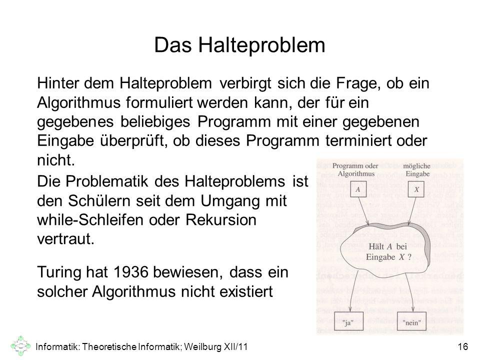 Informatik: Theoretische Informatik; Weilburg XII/1116 Das Halteproblem Hinter dem Halteproblem verbirgt sich die Frage, ob ein Algorithmus formuliert