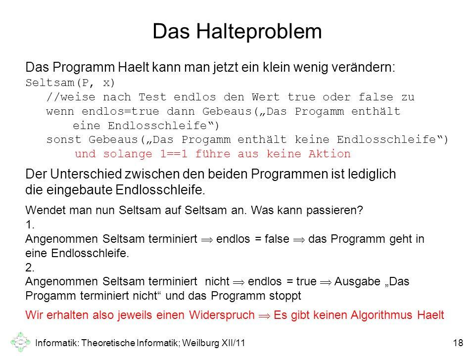 Informatik: Theoretische Informatik; Weilburg XII/1118 Das Halteproblem Das Programm Haelt kann man jetzt ein klein wenig verändern: Seltsam(P, x) //w