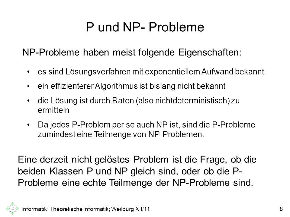 Informatik: Theoretische Informatik; Weilburg XII/118 P und NP- Probleme es sind Lösungsverfahren mit exponentiellem Aufwand bekannt ein effizienterer