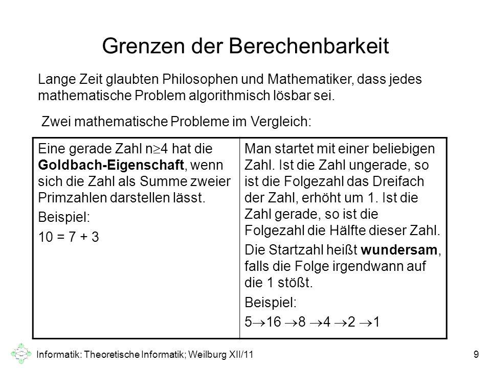 Informatik: Theoretische Informatik; Weilburg XII/1110 Exkurs – wundersame Zahlen Wenn man den Algorithmus mit beliebig großen Zahlen ausprobiert, stellt man fest, dass er eine wild aussehenden Zahlenfolge durchlaufen kann, die erstaunlich hohe Werte annimmt und unvorhersehbar schwankt.