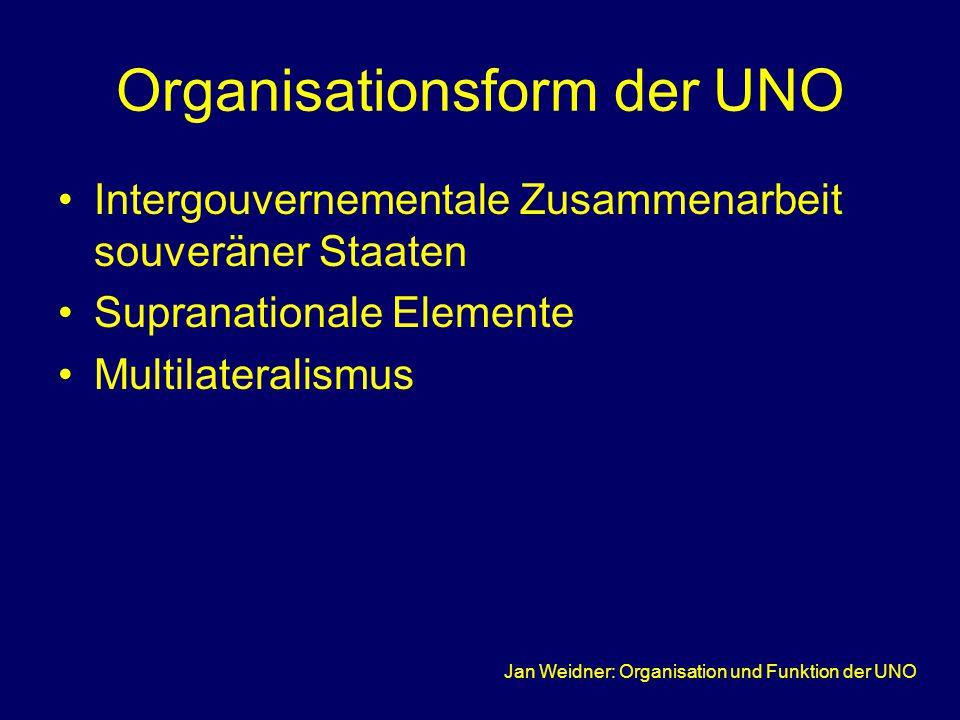 Jan Weidner: Organisation und Funktion der UNO Organisationsform der UNO Intergouvernementale Zusammenarbeit souveräner Staaten Supranationale Elemente Multilateralismus