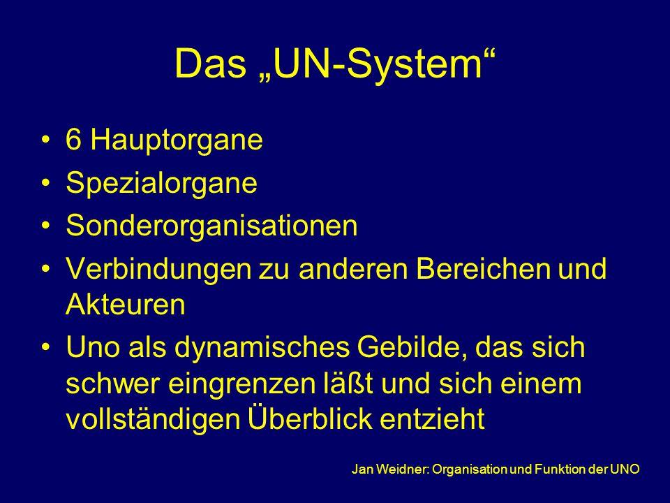 """Jan Weidner: Organisation und Funktion der UNO Das """"UN-System 6 Hauptorgane Spezialorgane Sonderorganisationen Verbindungen zu anderen Bereichen und Akteuren Uno als dynamisches Gebilde, das sich schwer eingrenzen läßt und sich einem vollständigen Überblick entzieht"""