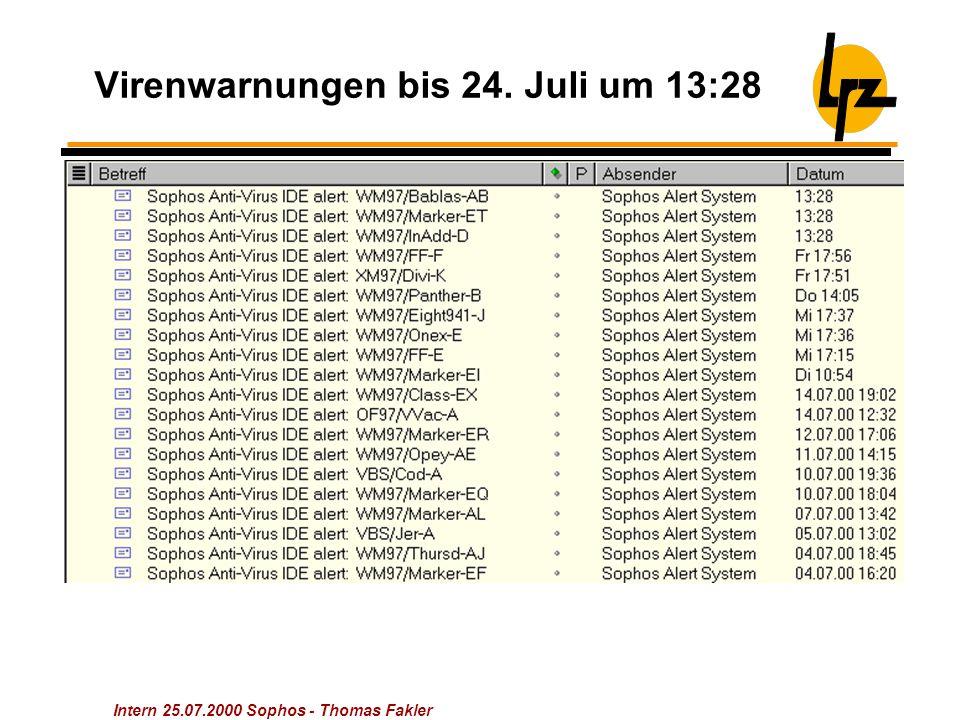 Intern 25.07.2000 Sophos - Thomas Fakler Virenwarnungen bis 24. Juli um 13:28