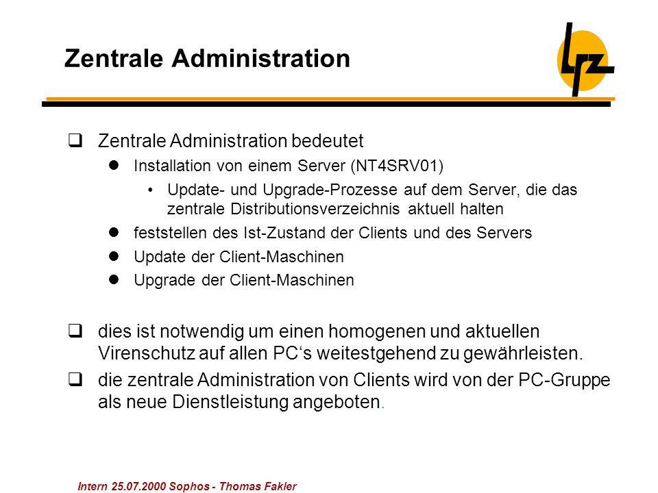 Intern 25.07.2000 Sophos - Thomas Fakler Zentrale Administration  Zentrale Administration bedeutet Installation von einem Server (NT4SRV01) Update- u