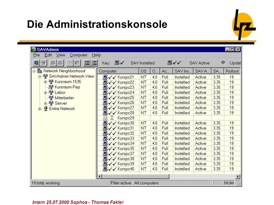 Intern 25.07.2000 Sophos - Thomas Fakler Die Administrationskonsole