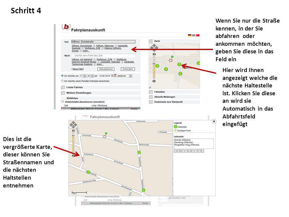 Schritt 4 Wenn Sie nur die Straße kennen, in der Sie abfahren oder ankommen möchten, geben Sie diese in das Feld ein Hier wird Ihnen angezeigt welche