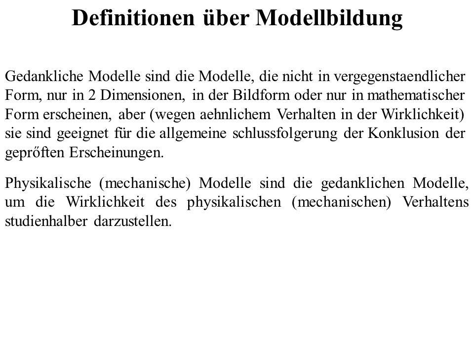 Definitionen über Modellbildung Gedankliche Modelle sind die Modelle, die nicht in vergegenstaendlicher Form, nur in 2 Dimensionen, in der Bildform od
