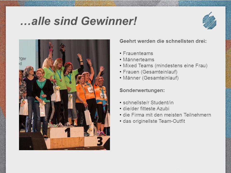 …alle sind Gewinner! Geehrt werden die schnellsten drei: Frauenteams Männerteams Mixed Teams (mindestens eine Frau) Frauen (Gesamteinlauf) Männer (Ges