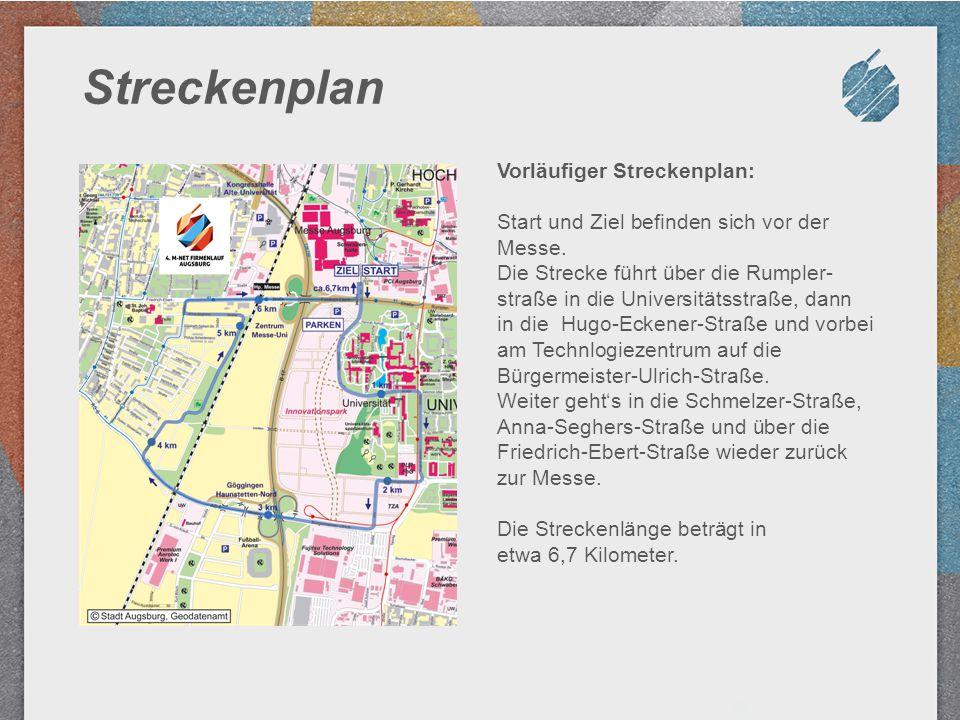Streckenplan Vorläufiger Streckenplan: Start und Ziel befinden sich vor der Messe. Die Strecke führt über die Rumpler- straße in die Universitätsstraß