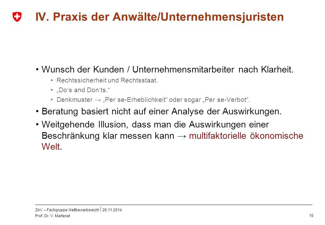 ZAV – Fachgruppe Wettbewerbsrecht 26.11.2014 Prof. Dr. V. Martenet 10 IV. Praxis der Anwälte/Unternehmensjuristen Wunsch der Kunden / Unternehmensmita