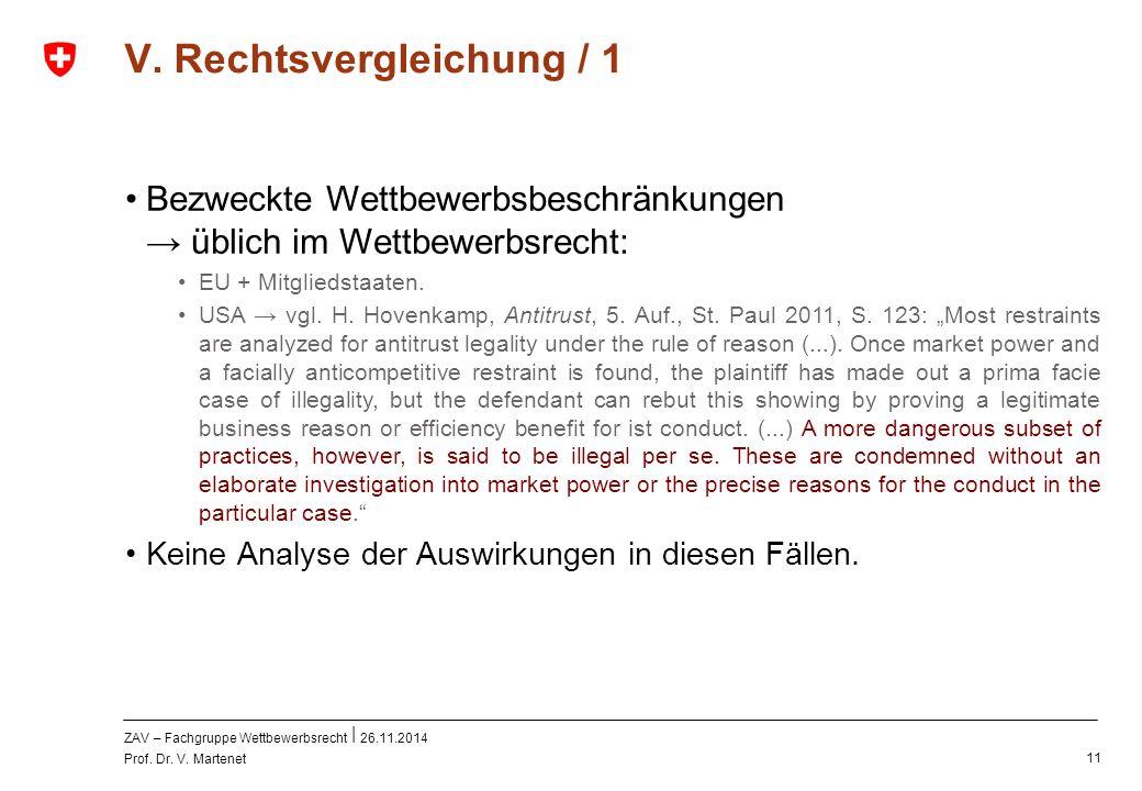 ZAV – Fachgruppe Wettbewerbsrecht 26.11.2014 Prof. Dr. V. Martenet 11 V. Rechtsvergleichung / 1 Bezweckte Wettbewerbsbeschränkungen → üblich im Wettbe