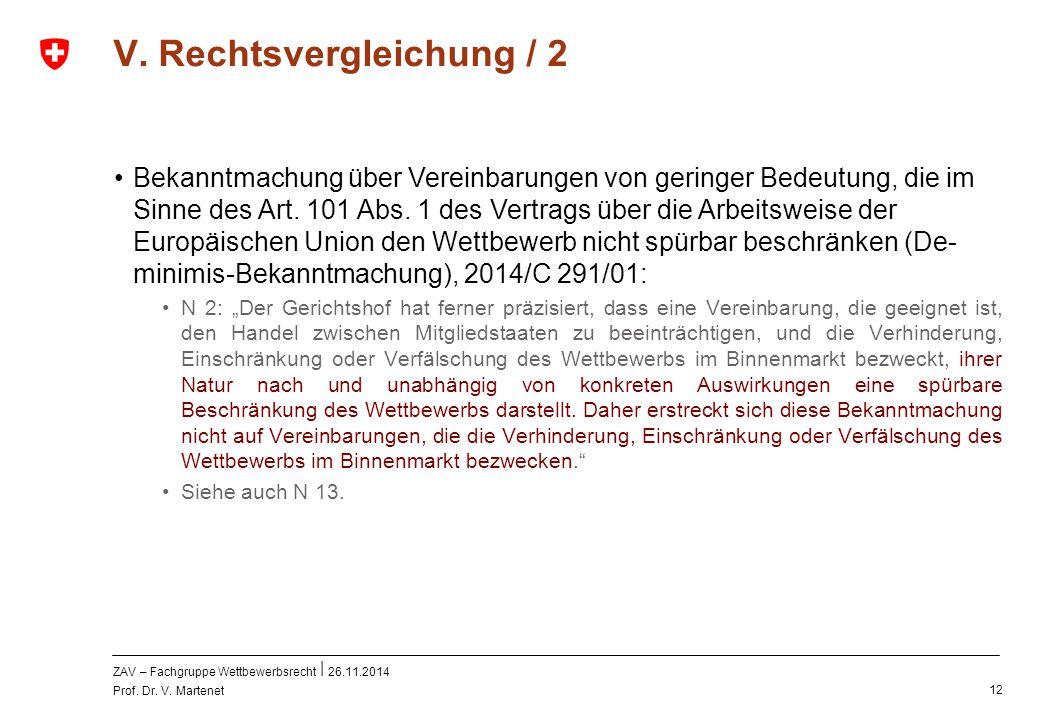 ZAV – Fachgruppe Wettbewerbsrecht 26.11.2014 Prof. Dr. V. Martenet 12 V. Rechtsvergleichung / 2 Bekanntmachung über Vereinbarungen von geringer Bedeut