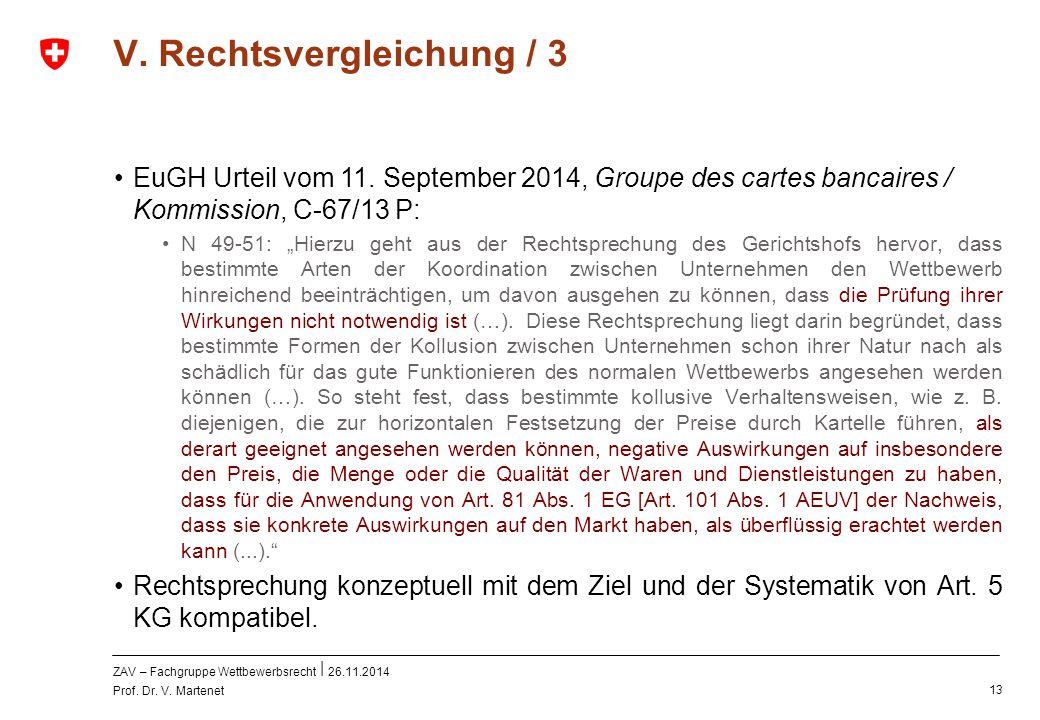 ZAV – Fachgruppe Wettbewerbsrecht 26.11.2014 Prof. Dr. V. Martenet 13 V. Rechtsvergleichung / 3 EuGH Urteil vom 11. September 2014, Groupe des cartes