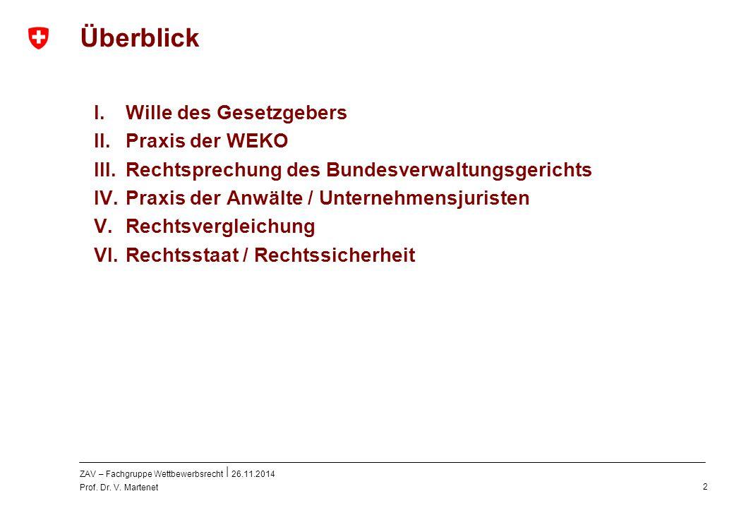 ZAV – Fachgruppe Wettbewerbsrecht 26.11.2014 Prof. Dr. V. Martenet 2 Überblick I. Wille des Gesetzgebers II. Praxis der WEKO III. Rechtsprechung des B