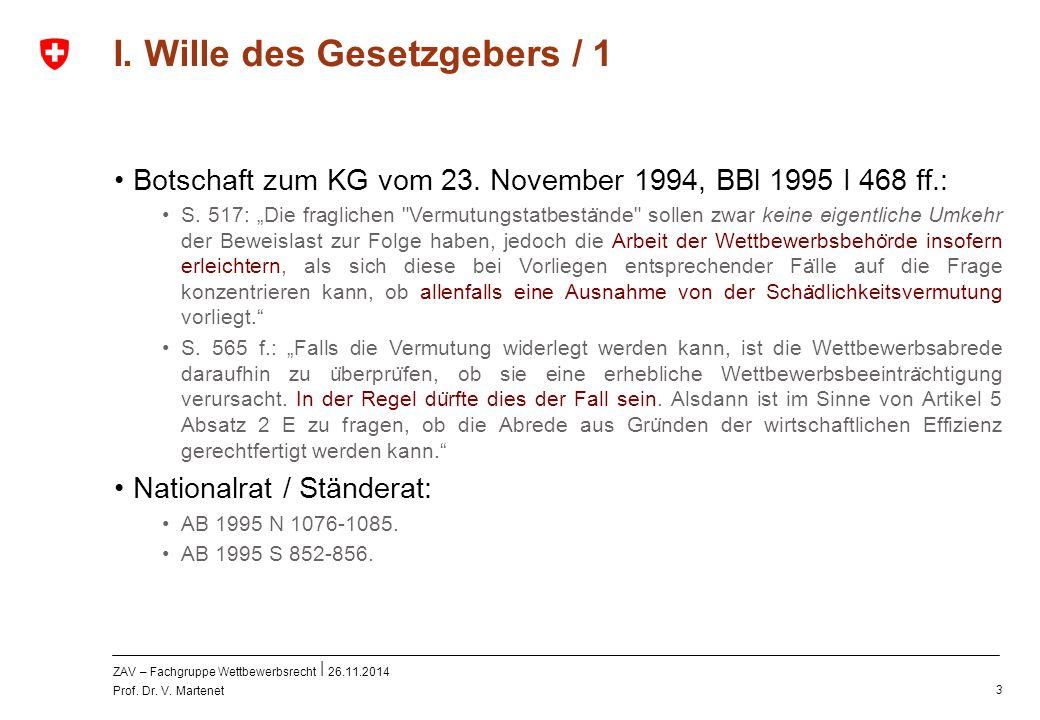 ZAV – Fachgruppe Wettbewerbsrecht 26.11.2014 Prof. Dr. V. Martenet 3 I. Wille des Gesetzgebers / 1 Botschaft zum KG vom 23. November 1994, BBl 1995 I