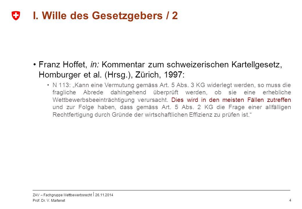 ZAV – Fachgruppe Wettbewerbsrecht 26.11.2014 Prof. Dr. V. Martenet 4 I. Wille des Gesetzgebers / 2 Franz Hoffet, in: Kommentar zum schweizerischen Kar