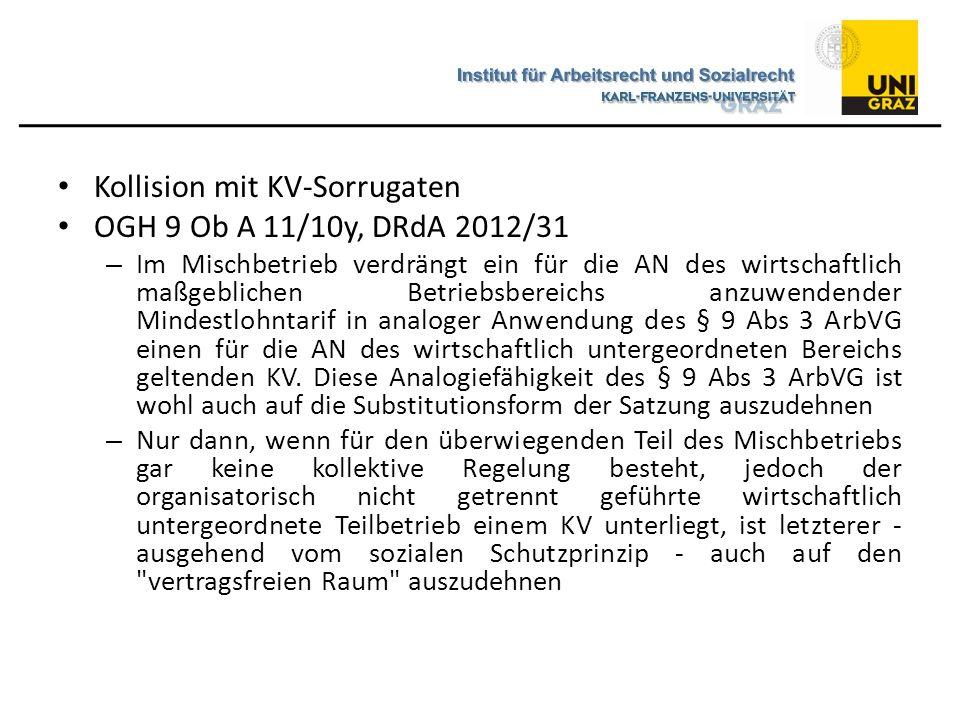Kollision mit KV-Sorrugaten OGH 9 Ob A 11/10y, DRdA 2012/31 – Im Mischbetrieb verdrängt ein für die AN des wirtschaftlich maßgeblichen Betriebsbereichs anzuwendender Mindestlohntarif in analoger Anwendung des § 9 Abs 3 ArbVG einen für die AN des wirtschaftlich untergeordneten Bereichs geltenden KV.