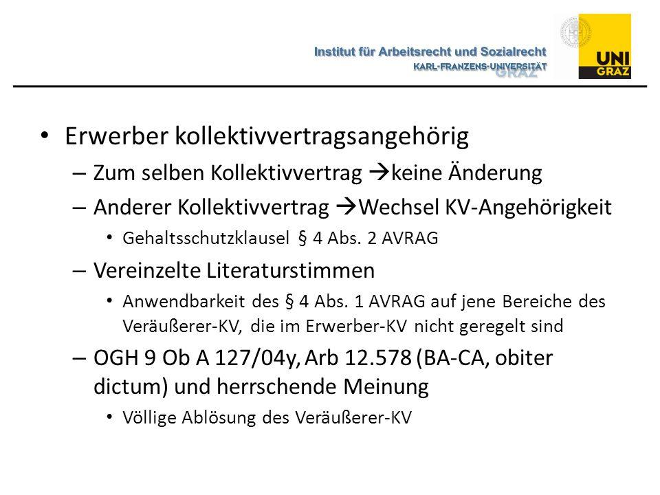 Erwerber kollektivvertragsangehörig – Zum selben Kollektivvertrag  keine Änderung – Anderer Kollektivvertrag  Wechsel KV-Angehörigkeit Gehaltsschutz