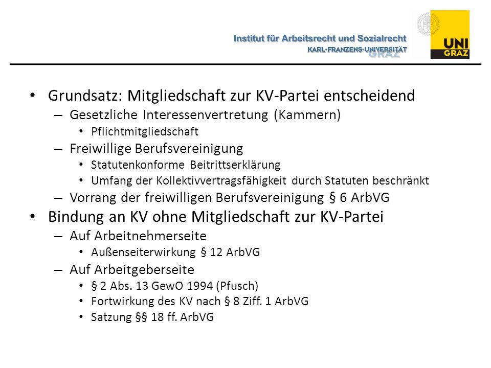 Grundsatz: Mitgliedschaft zur KV-Partei entscheidend – Gesetzliche Interessenvertretung (Kammern) Pflichtmitgliedschaft – Freiwillige Berufsvereinigun