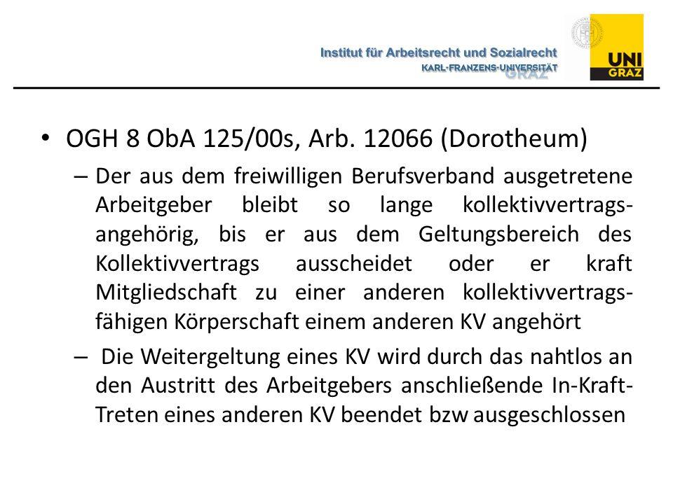 OGH 8 ObA 125/00s, Arb. 12066 (Dorotheum) – Der aus dem freiwilligen Berufsverband ausgetretene Arbeitgeber bleibt so lange kollektivvertrags- angehör