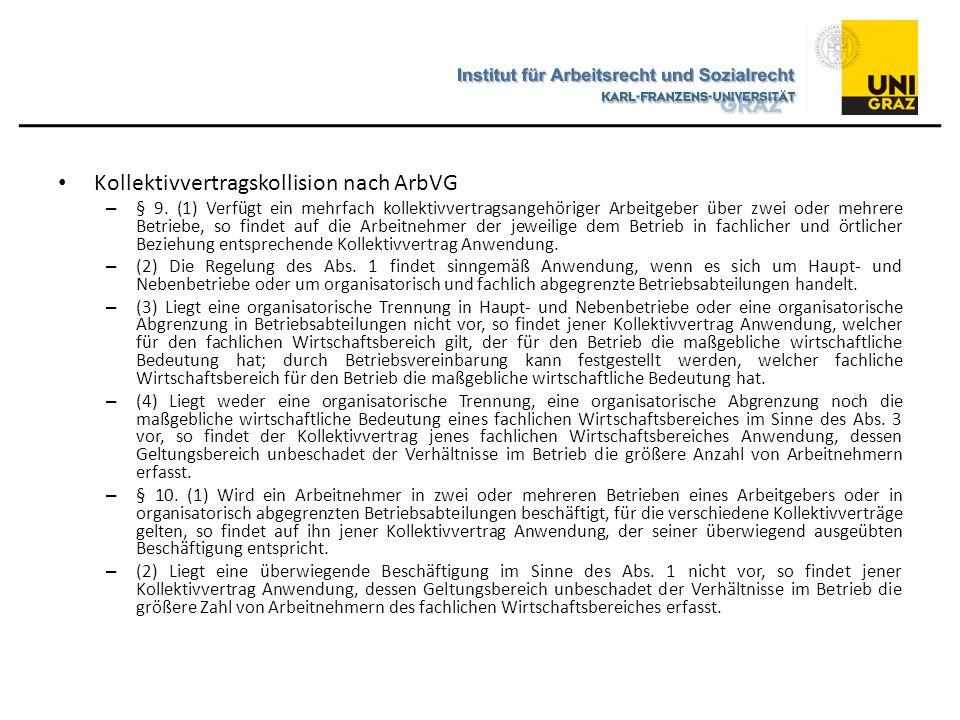 Kollektivvertragskollision nach ArbVG – § 9. (1) Verfügt ein mehrfach kollektivvertragsangehöriger Arbeitgeber über zwei oder mehrere Betriebe, so fin