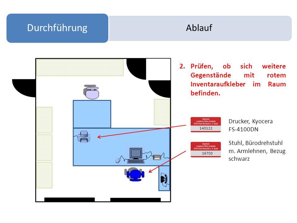 Ablauf Durchführung 2.Prüfen, ob sich weitere Gegenstände mit rotem Inventaraufkleber im Raum befinden.
