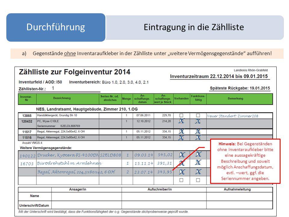 """Eintragung in die Zählliste Durchführung X X a)Gegenstände ohne Inventaraufkleber in der Zählliste unter """"weitere Vermögensgegenstände aufführen."""