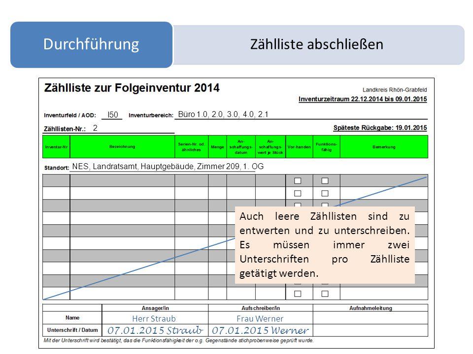 Zählliste abschließen Durchführung I50 Büro 1.0, 2.0, 3.0, 4.0, 2.1 2 NES, Landratsamt, Hauptgebäude, Zimmer 209, 1. OG Herr StraubFrau Werner 07.01.2