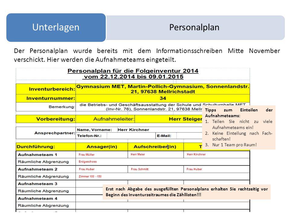 Personalplan Unterlagen Der Personalplan wurde bereits mit dem Informationsschreiben Mitte November verschickt. Hier werden die Aufnahmeteams eingetei