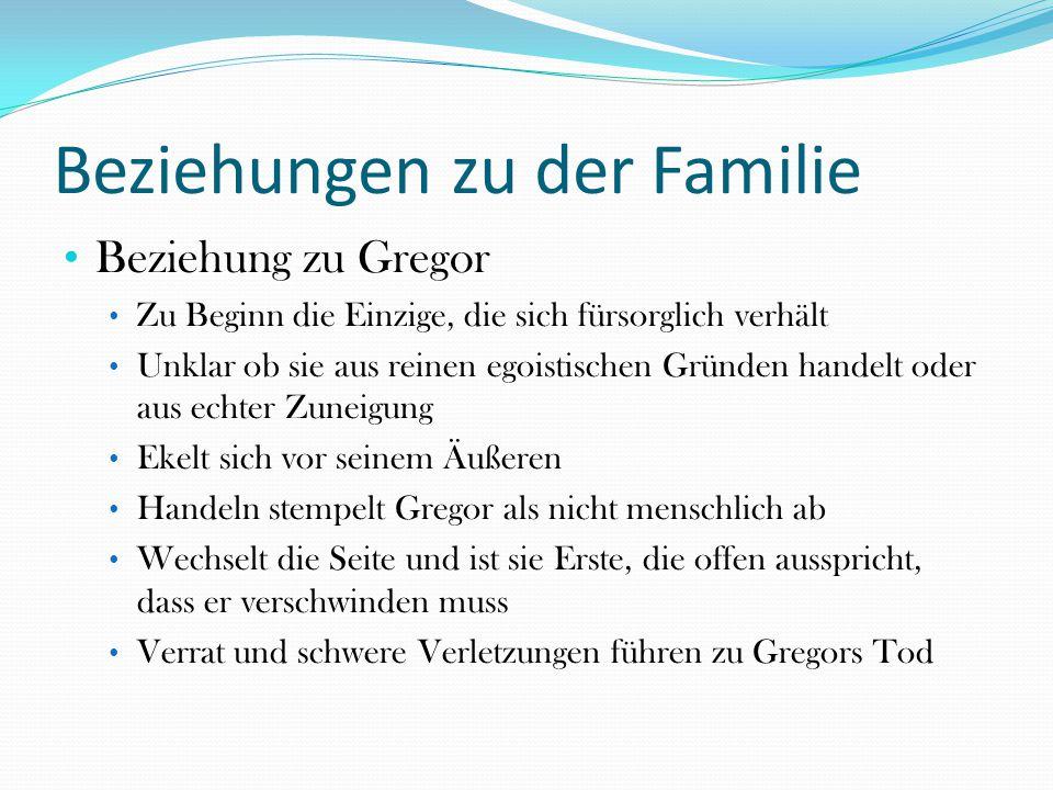 Beziehungen zu der Familie Beziehung zu Gregor Zu Beginn die Einzige, die sich fürsorglich verhält Unklar ob sie aus reinen egoistischen Gründen hande