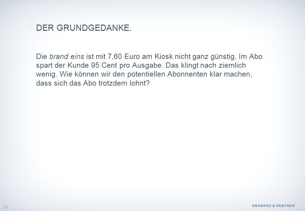 DER GRUNDGEDANKE. Die brand eins ist mit 7,60 Euro am Kiosk nicht ganz günstig.