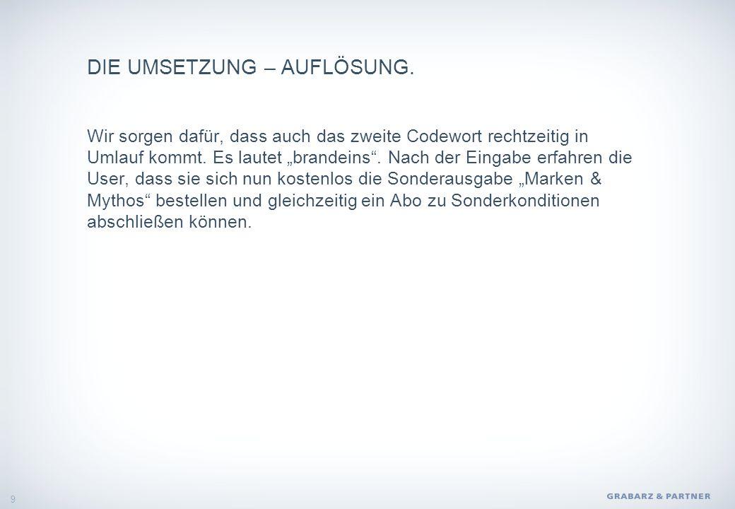 DIE UMSETZUNG – AUFLÖSUNG.