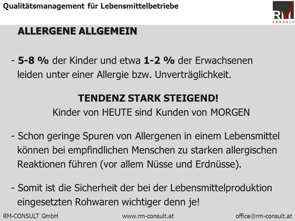 RM-CONSULT GmbH www.rm-consult.atoffice@rm-consult.at Qualitätsmanagement für Lebensmittelbetriebe ALLERGENEALLGEMEIN ALLERGENE ALLGEMEIN - 5-8 % der