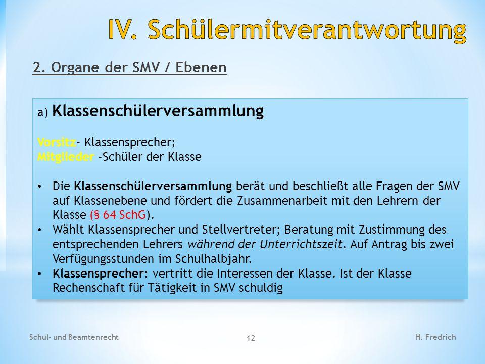 2.Organe der SMV / Ebenen Schul- und Beamtenrecht 13 H.