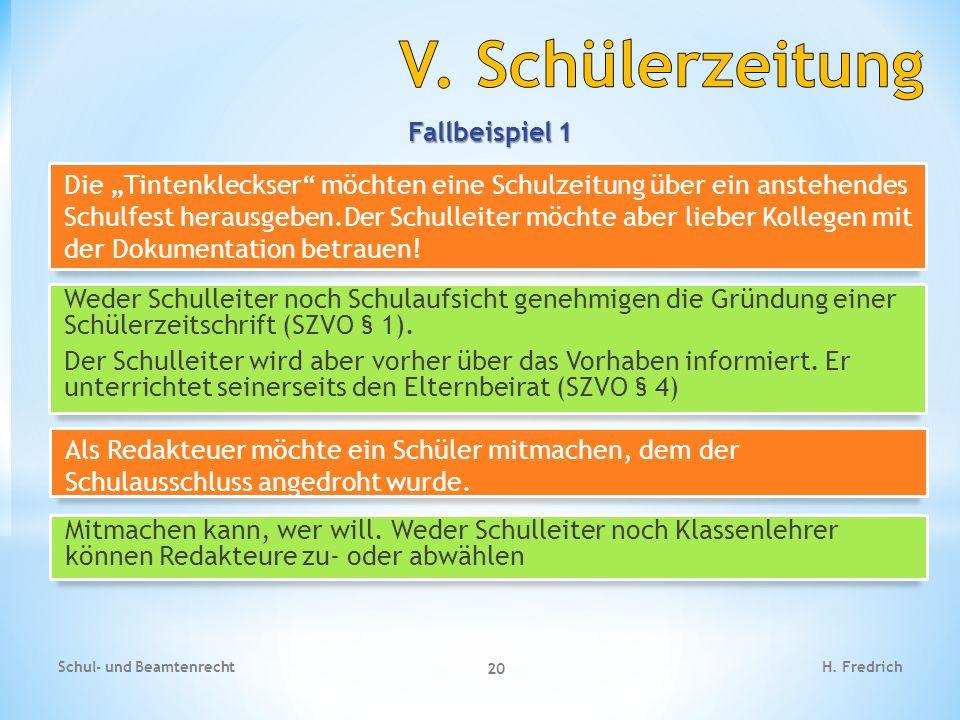 Fallbeispiel 2 Schul- und Beamtenrecht 21 H.