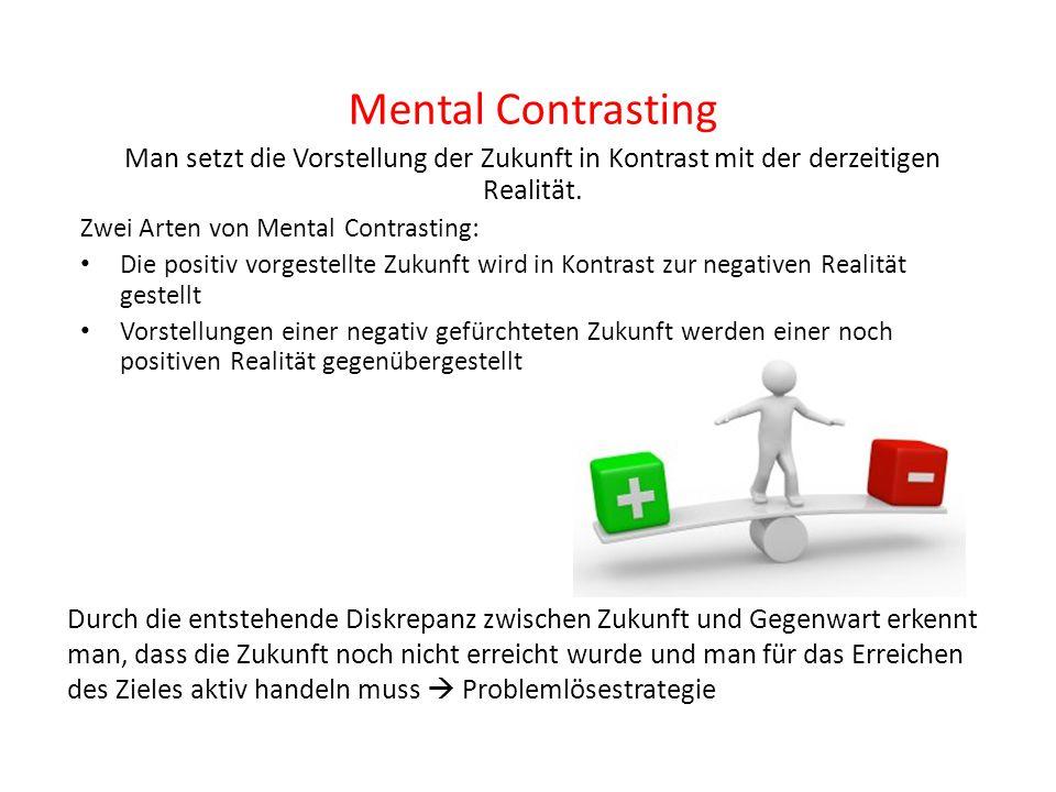 Mental Contrasting Man setzt die Vorstellung der Zukunft in Kontrast mit der derzeitigen Realität. Zwei Arten von Mental Contrasting: Die positiv vorg