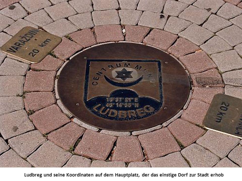Ludbreg und seine Koordinaten auf dem Hauptplatz, der das einstige Dorf zur Stadt erhob