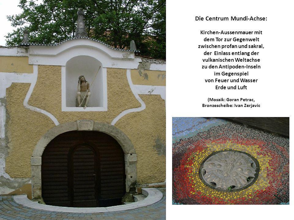 Die Centrum Mundi-Achse: Kirchen-Aussenmauer mit dem Tor zur Gegenwelt zwischen profan und sakral, der Einlass entlang der vulkanischen Weltachse zu d