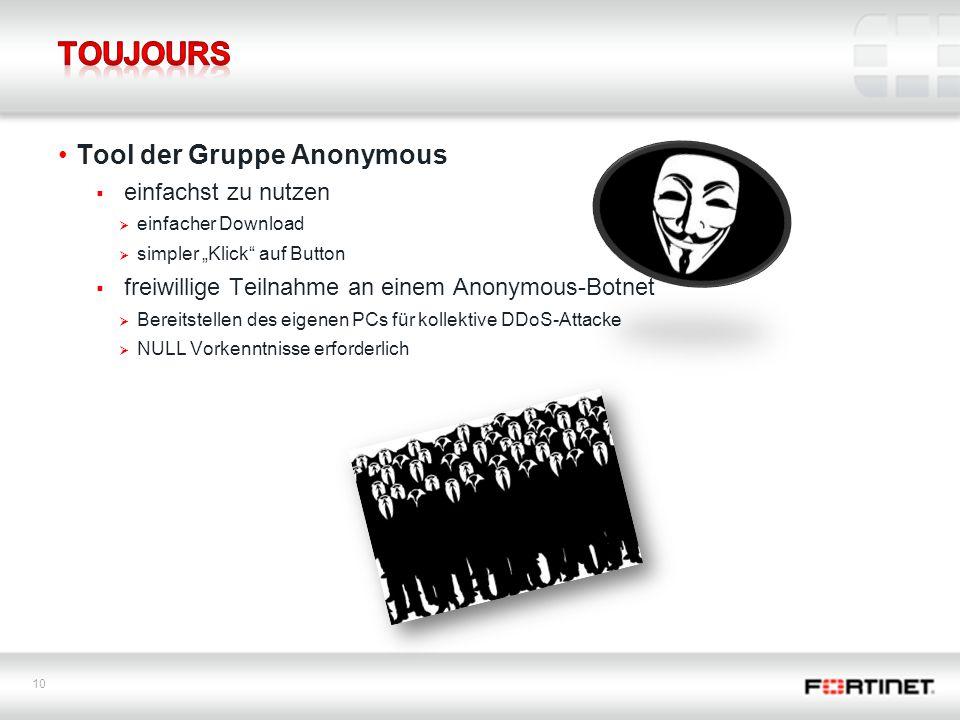 """10 Tool der Gruppe Anonymous  einfachst zu nutzen  einfacher Download  simpler """"Klick auf Button  freiwillige Teilnahme an einem Anonymous-Botnet  Bereitstellen des eigenen PCs für kollektive DDoS-Attacke  NULL Vorkenntnisse erforderlich"""