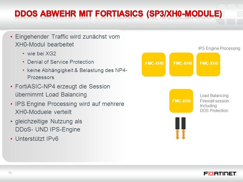 19 Eingehender Traffic wird zunächst vom XH0-Modul bearbeitet wie bei XG2 Denial of Service Protection keine Abhängigkeit & Belastung des NP4- Prozessors FortiASIC-NP4 erzeugt die Session übernimmt Load Balancing IPS Engine Processing wird auf mehrere XH0-Moduele verteilt gleichzeitige Nutzung als DDoS- UND IPS-Engine Unterstützt IPv6 Firewall session Including DOS Protection Load Balancing IPS Engine Processing FMC-XH0