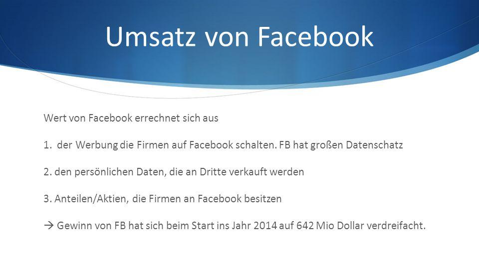 Umsatz von Facebook Wert von Facebook errechnet sich aus 1.