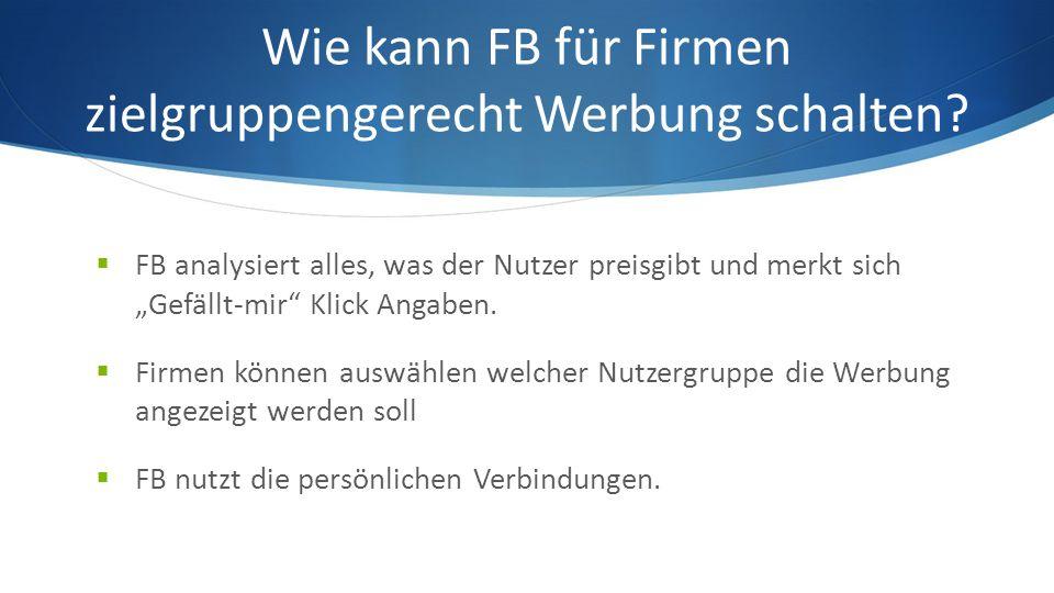 Wie kann FB für Firmen zielgruppengerecht Werbung schalten.
