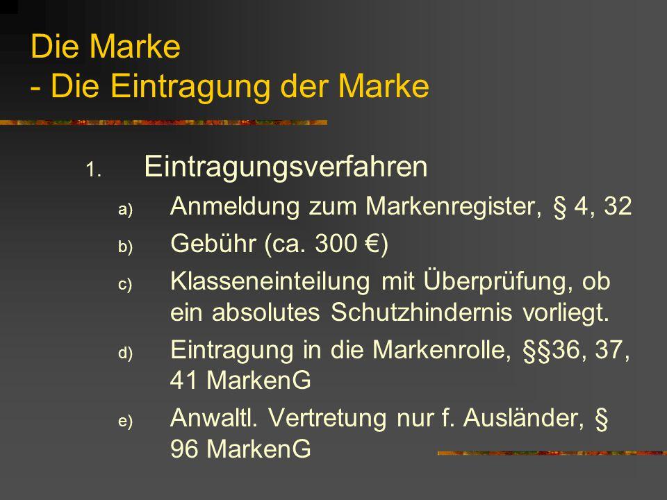 Die Marke - Die Eintragung der Marke 1.