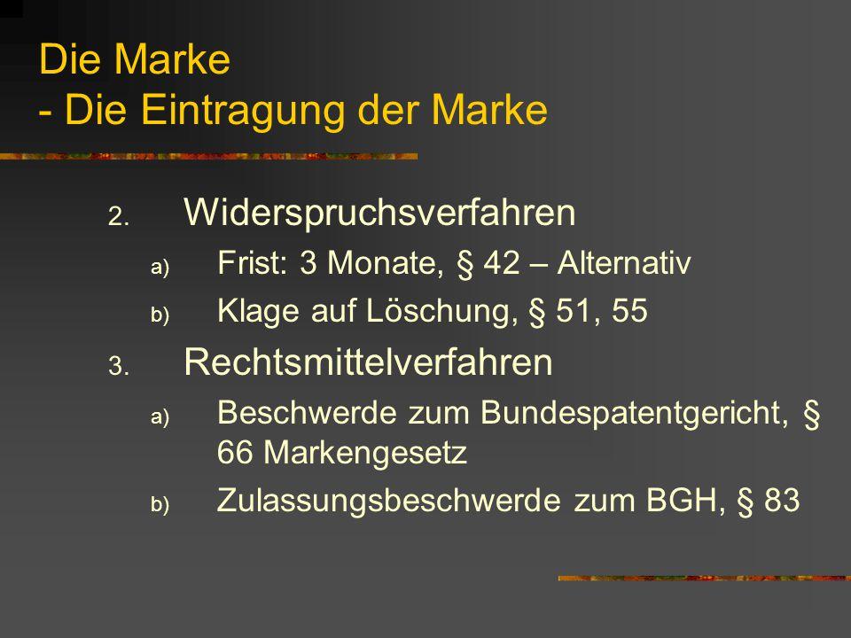Die Marke - Die Eintragung der Marke 2.