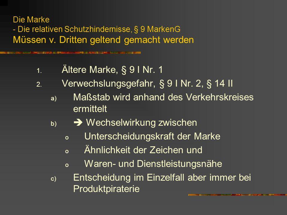 Die Marke - Die relativen Schutzhindernisse, § 9 MarkenG Müssen v.