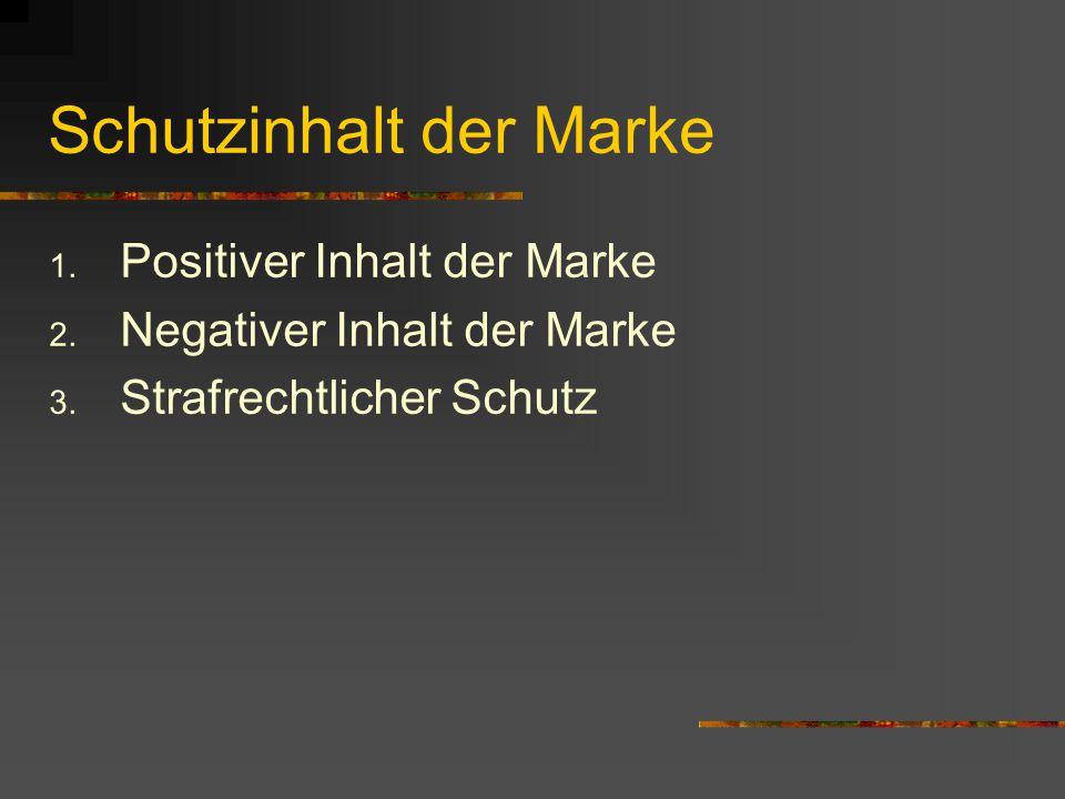 Schutzinhalt der Marke 1.Positiver Inhalt der Marke 2.