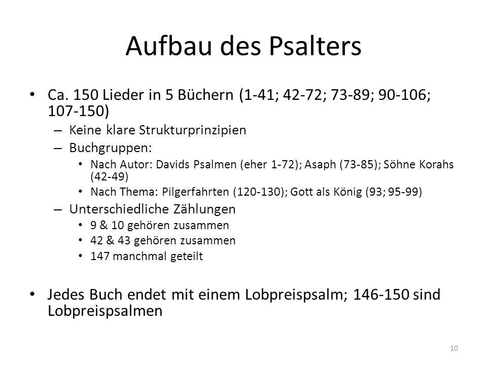Aufbau des Psalters Ca. 150 Lieder in 5 Büchern (1-41; 42-72; 73-89; 90-106; 107-150) – Keine klare Strukturprinzipien – Buchgruppen: Nach Autor: Davi